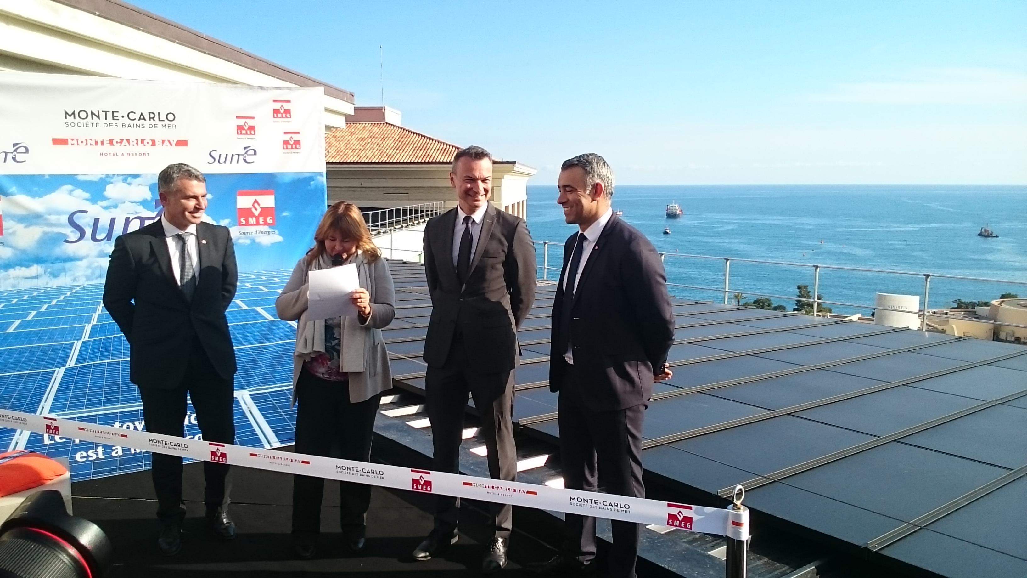 Inauguration de mise en service de la centrale solaire - Photo : Frédéric Darnet, Marie-Pierre Gramaglia, Thomas Battaglione et Achour Daïra